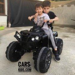 Полноприводный электроквадроцикл Grizzly черный (резиновые колеса, кожаное кресло, пульт, музыка)