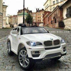 Электромобиль BMW X6 белый (колеса резина, кресло кожа, пульт, музыка)