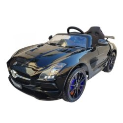 Электромобиль Mercedes-Benz SLS AMG черный (колеса резина, кресло кожа, пульт, музыка, электроусилитель)